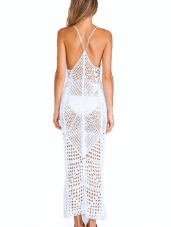 Syra Ivory Diamond Crochet Maxi Dress
