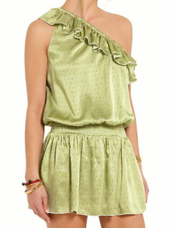 Riviera One Shoulder Dress Jewel Gold