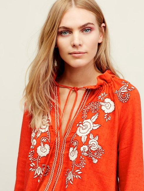 Topanga Boho Embroidered Floral Tunic Top