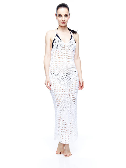 AMLA Syra Ivory Diamond Crochet Maxi Dress