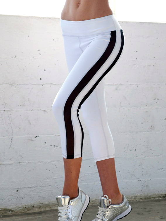 White Yoga Capris Black Sheer Mesh | AmandaMills