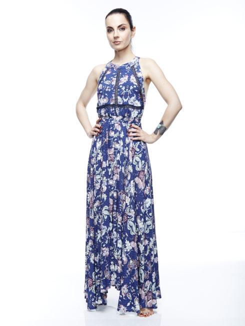 Belles Fleurs Empire Tie Back Maxi Dress