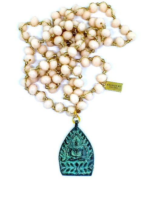 Sitting Buddha Knotted Bead Necklace