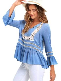 Savannah Sea Blue Lace Summer Blouse