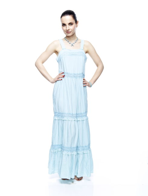 Sky Blue Bohemian Maxi Slip Dress - AMLA VIBE CLOTHING