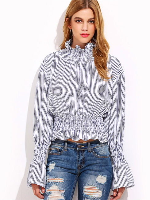 VICTORIA HIGH NECK SMOCKED RUFFLE BLOUSE