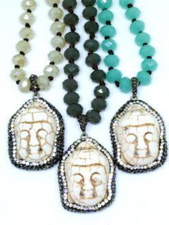 Tibetan Mint Turquoise Buddha Necklace