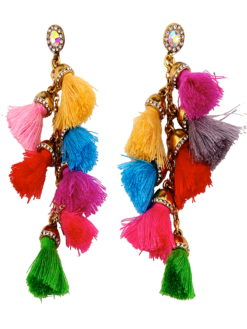 VIBRANT MULTI COLOR TASSEL DROP EARRINGS