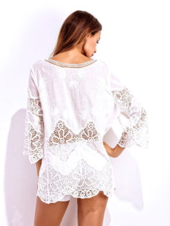 Sea Island Lace Crochet V Neck Tunic