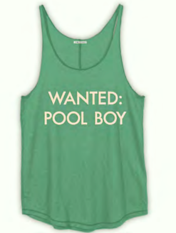 POOL BOY WANTED TEAL TANK TOP