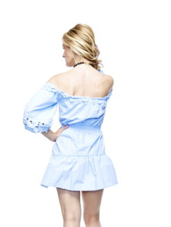 BABY BLUE EXPOSED SHOULDER MINI DRESS