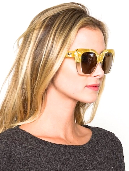 WESTEND GIRL GOLD CRYSTAL WHITE SUNGLASSES - QUAY