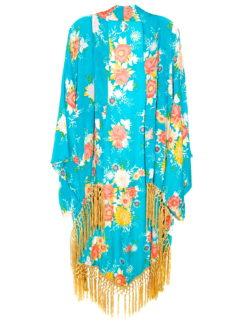 Wild Heart Indigo Floral Tassel Kimono - amla 2
