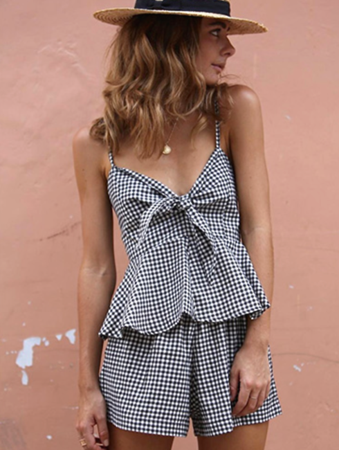 FRONT TIE GINGHAM TWO-PIECE PLAYSUIT