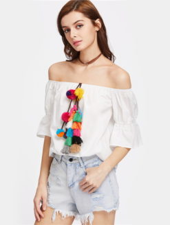 Pom-pom Tassel Exposed Shoulder Peasant Blouse - shop amla