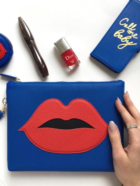 Blue Cosmetic Pouch Red Patch Lips - iphoria