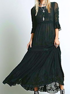 ASPEN EMBROIDERED DEEP BLACK MAXI DRESS