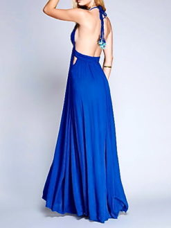 ROYAL BLUE DEEP V-NECK HALTER MAXI DRESS