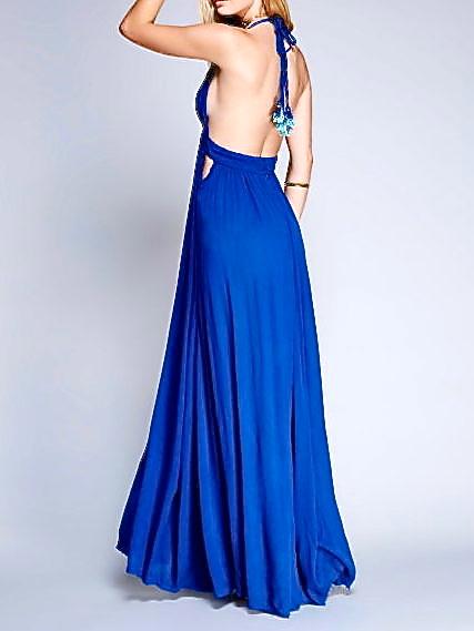 ROYAL BLUE DEEP V-NECK HALTER MAXI DRESS