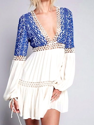 Diamond Tribe Indigo Boho Chic Dress - main