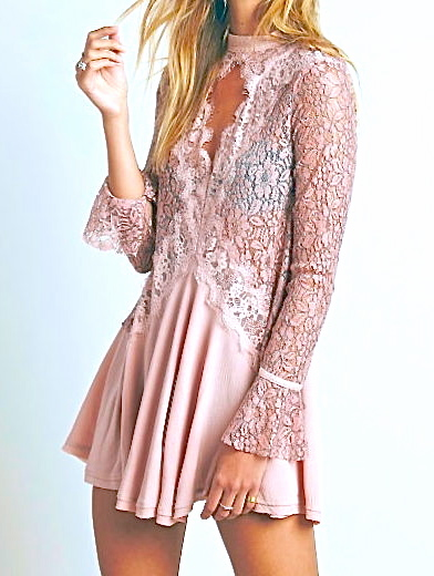 Zuni Sunrise Blush Rose Black Lace Mini Dress