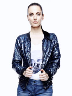 Sequin Bomber Jacket Midnight Blue - am vibe