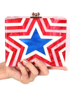 STARS STRIPES LUCITE EVENING CLUTCH - am vibe