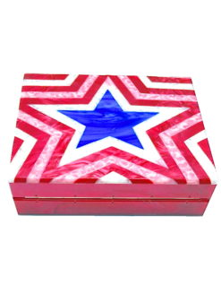 STARS STRIPES LUCITE EVENING CLUTCH- amla