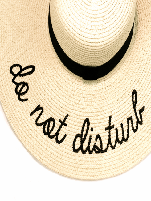 Natural Straw Do Not Disturb Beach Hat - am vibe