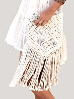 Bohemian Crochet Fringed Cross Body Bag - am vibe