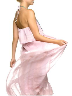 Strapless Pink Embroidered Halter Dress - SHOP AMLA