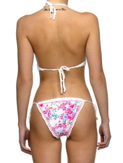 Pink Floral Crochet Brazilian Bikini Set -shopamla