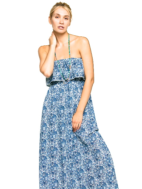 BLUE FLORAL EXPOSED SHOULDER MAXI DRESS -shop amla