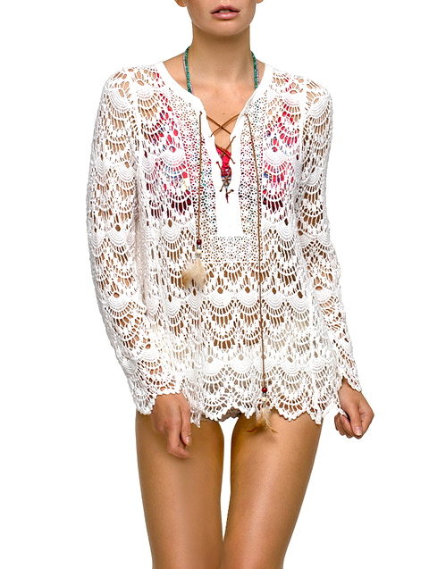 LEATHER FEATHER IBIZA CROCHET TUNIC - AM VIBE