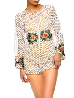 POPPY WILDFLOWER LACE EMBROIDERY ROMPER- shopamla