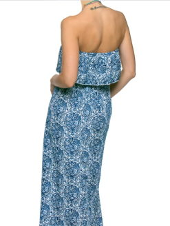 BLUE FLORAL EXPOSED SHOULDER MAXI DRESS - SHOP AMLA
