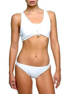 Knotted Front Ribbed Fabric Undie Bikini -AM VIBE