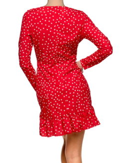 Candy Apple Red White Polka Dot Wrap Dress