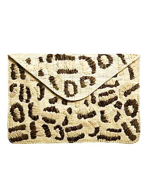 Kayu Tulum Straw Leopard Envelope Clutch