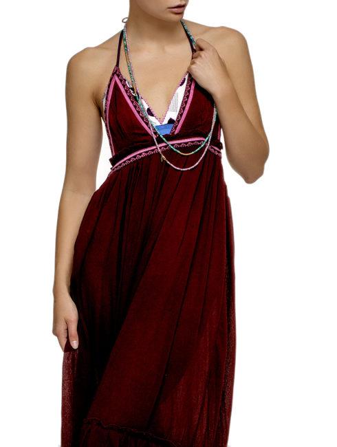 Gypsy Gem Merlot Backless Halter Maxi Dress