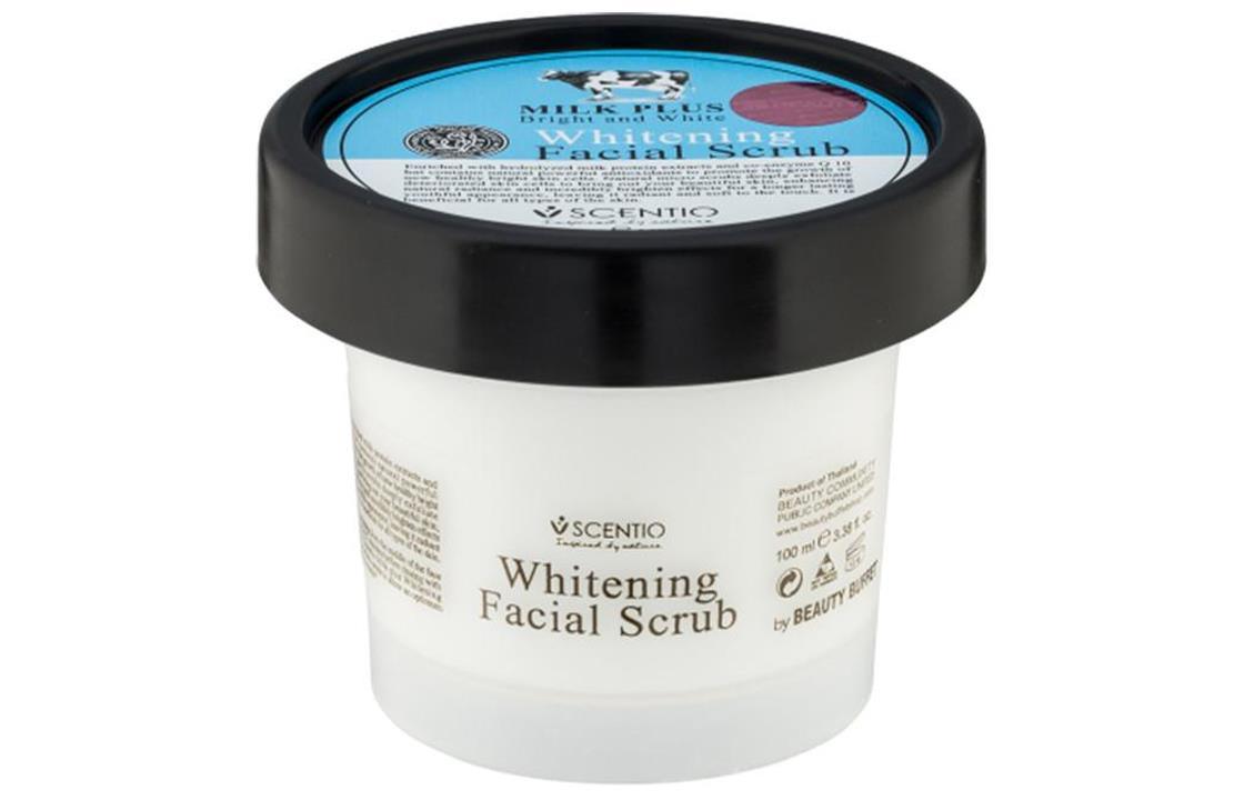 Scentio Milk Plus Whitening Q10 Facial Scrub للوجه