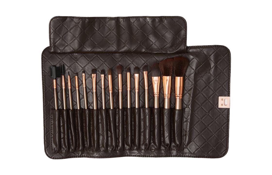 BH Cosmetics 15 Piece Rose Gold Brush Set  الفرش الذهبيه