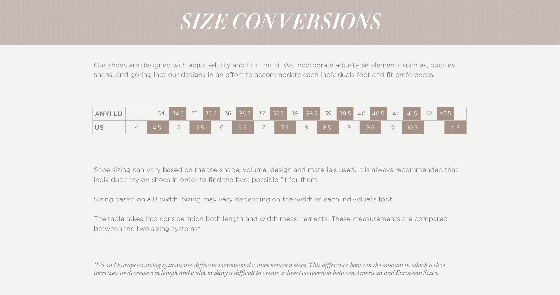 Anyi Lu : Size Chart