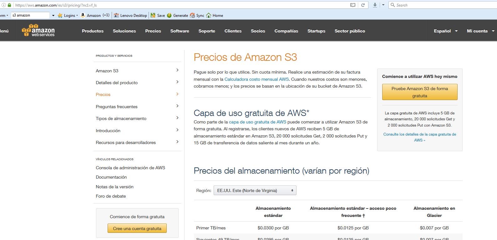 Pagina par suscripsion en Amazon S3