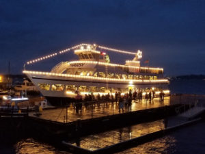 Christmas cruise ship docked at Leschi Dock