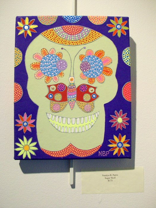 "Natalya B. Parris's acrylic on canvas artwork ""Sugar Skull"" was juried to the Rockville Art League annual members show December 6 - 31, 2015; Opening Reception today, Sunday, December 6, 1:30-3:30 PM at the Glenview Mansion, 603 Edmonston Dr., Rockville,"