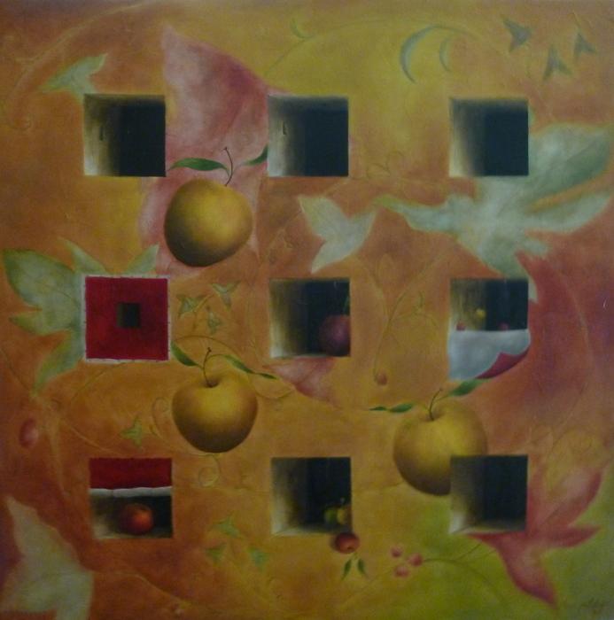 """""""Pommes en Suspens, Le Jeu de Pommes"""" - 80x80cm"""