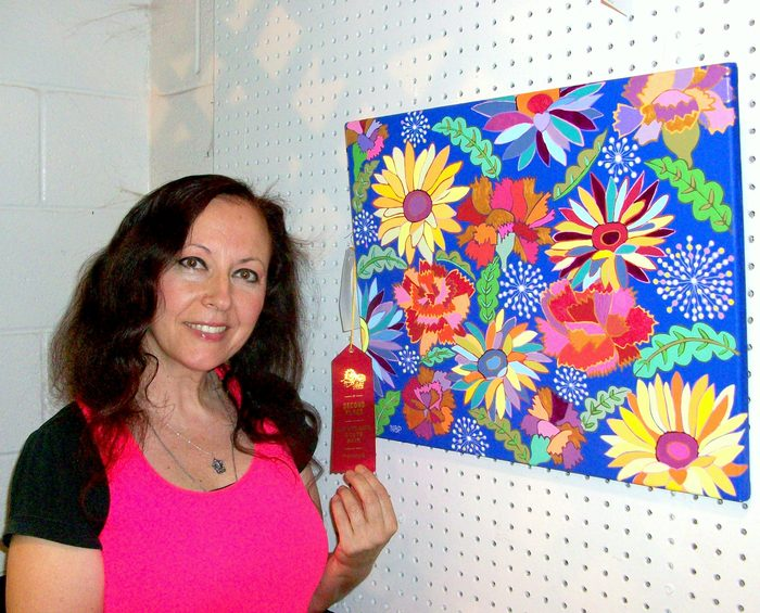 "Natalya B. Parris's acrylic on canvas artwork ""Natalya's Flowers"" won 2nd place at the Maryland State Fair, August 28 - September 7, 2015"