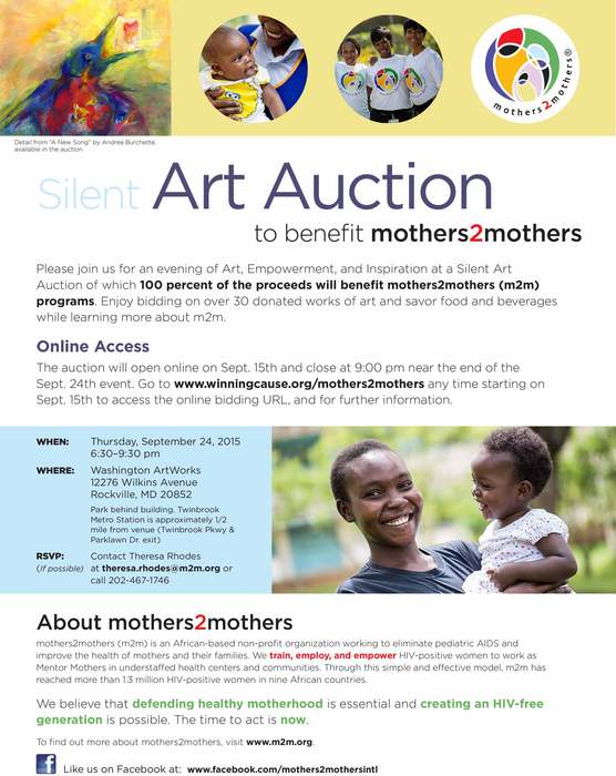 "Natalya B. Parris donated her acrylic on canvas 4""X4"" artwork ""Small Heart Big Love"" to benefit mothers2mothers programs.The auction will be on Th. Sept. 24, 2015 at Washington ArtWorks, 12276 Wilkins Av., Rockville, MD 20852. You are invited to mothers2m"