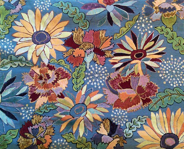 """Tapestry made from the image of Natalya B. Parris acrylic on canvas artwork """"Natalya's Flowers"""" is on display at the """"2016 PERSPECTIVE"""" exhibit organized by the MUSEUM OF THE AMERICAS & AURORA STUDIOS, 129 Aurora Street - Houston, TX 77008"""